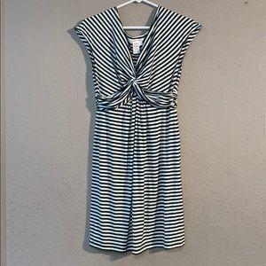Green White Max Studio Size L Midi Dress